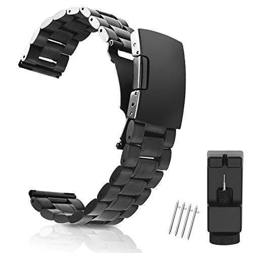 Vetoo Watch Bands 22mm Strap, Black,for Asus Zenwatch 2, Huawei Watch 2 Classic, LG Watch/Urbane/R, Moto 360 2nd, Pebble Classic/Time/Time Steel/ 2/2 SE, Samsung Gear S3 Classic/Frontier