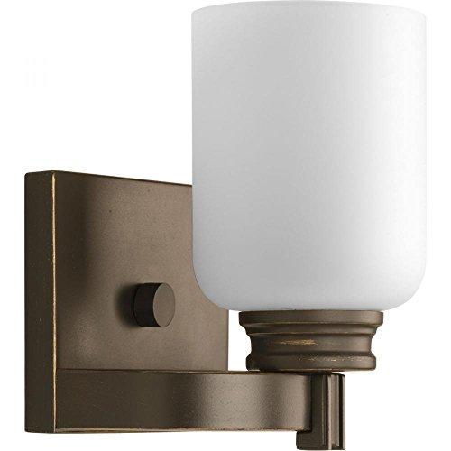 Opal Bronze Sconce - Progress-One Light Antique Bronze Opal Etched Glass Bathroom Sconce-P3030-20