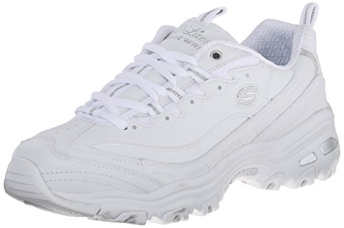 Skechers Women's D'Lites Memory Foam Lace-up Sneaker,White Silver,7 M US (Best Nursing Shoes Skechers)