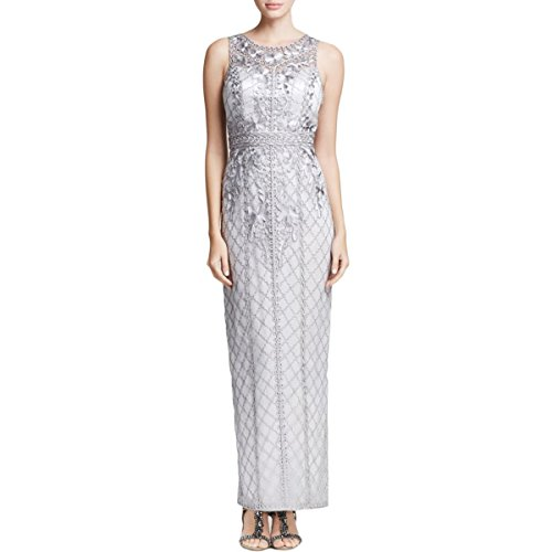 Sue Wong Womens Embroidered Satin Formal Dress Silver 6