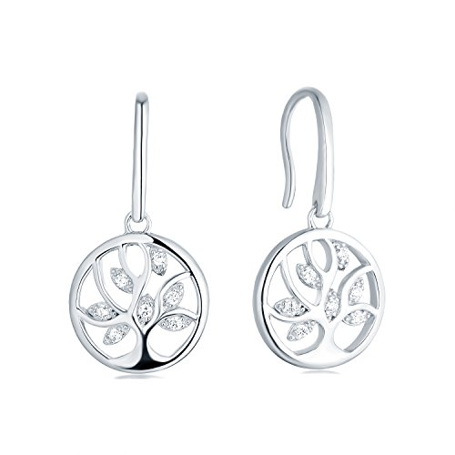 Tree Earrings 925 Sterling Silver Cubic Zirconia Family Tree of Life Hook Dangle & Drop Earrings by JO WISDOM (Image #7)