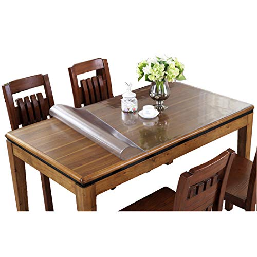 Ever Fairy - Mantel protector de plastico transparente para mesa de comedor de cocina, con borde para suelos duros, protector de suelo para silla de la serie Eco-Friendly (grosor: 2 mm), 100x240cm