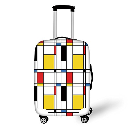 (Travel Luggage Cover Suitcase Protector,Abstract Home Decor,Geometric Colorful Pattern Crossover Decorative Rectangle Frame Window Art Decorative,,for Travel)