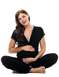 Ekouaer Womens Soft Maternity Nursing Pajama Set with Pants (Black, Gray)