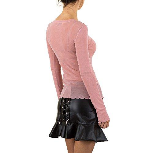 Glänzende Bluse Für Damen , Rosa In Gr. S bei Ital-Design