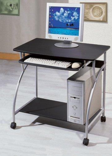 Computer Cart Finish (Small Computer Desk Cart on Wheels, Black Finish)