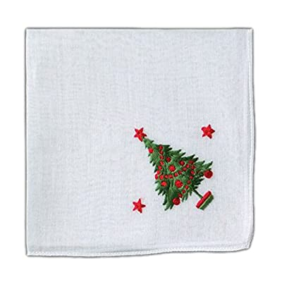 White Fine Cotton Christmas Tree Embroidered Handkerchief 12 X 12 Inch Square