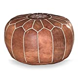 Moroccan leather pouf, handmade ottoman poof for living room furniture and home decor, floor footstool hassock, boho round chair foot rest stool pouffe, natural Unstuffed