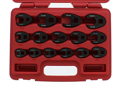 ABN Jumbo Crowfoot Flare Nut Wrench Set Metric 15-Piece Tool Kit for 3/8