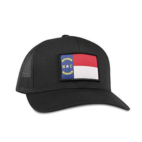 North Carolina Flag Hat - Trucker Mesh Snapback Baseball Cap - Black -