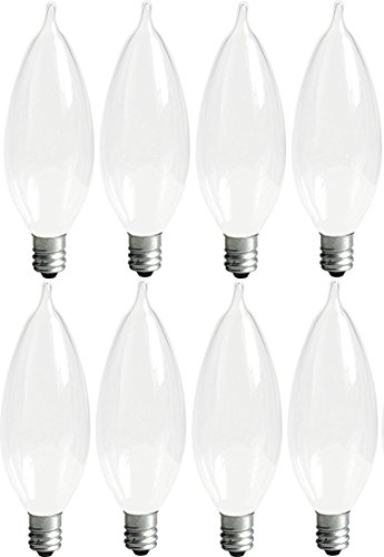 - GE Lighting Soft White 66106 40-Watt, 360-Lumen Bent Tip Light Bulb with Candelabra Base, 8-Pack