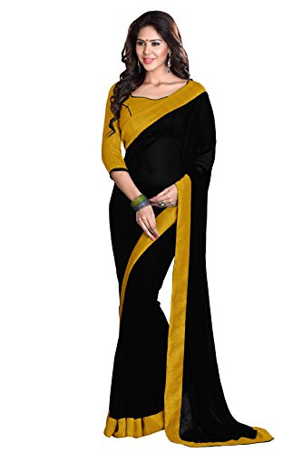 Faux Georgette (Sourbh Mirchi Fashion Women's Faux Georgette Lace Wedding Saree Free Size Black Mustard)