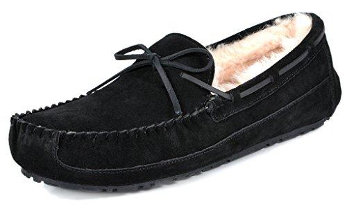 Dream Pairs Zapatillas De Piel De Oveja Para Hombre Mocasines Black-2