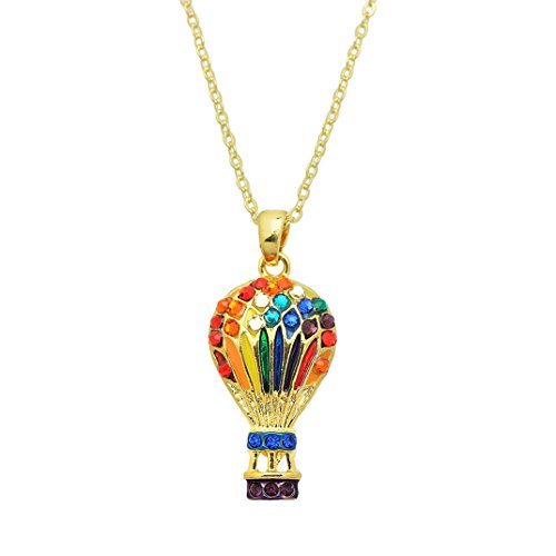 Hot Rides Air Balloon - Lola Bella Gifts Crystal Hot Air Balloon Colors of The Rainbow Necklace with Gift Box
