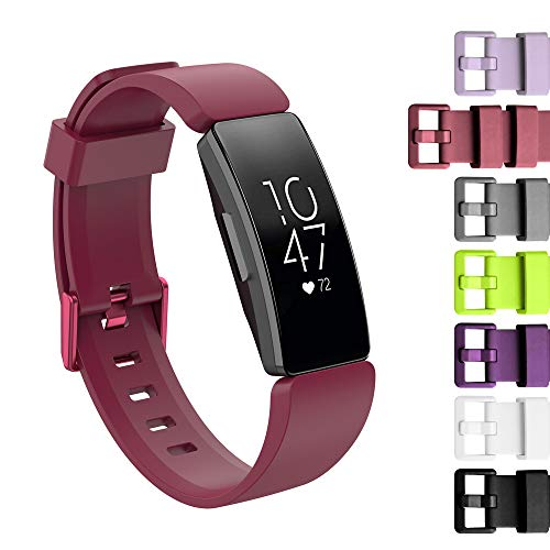 LittleForest Solid Color Silicone Bands Compatible for Fitbit Inspire/Fitbit Inspire HR Fitness Tracker, Soft Sport Silicone Replacement Wristband for Women Men (L) -Wine Red