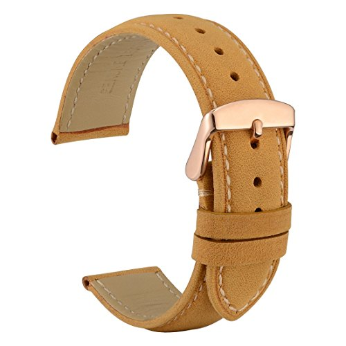 WOCCI 19mm Watch Band - Vintage Leather Watch Strap Light Brown with Rose Gold Buckle (Contrasting - Iwc Gold Watch