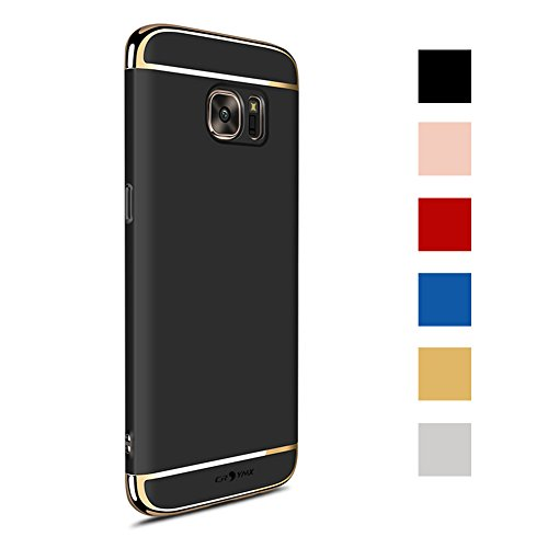 Galaxy S7 Edge Case Back Cover, Ultra Slim & Rugged Fit Shock Drop Proof Impact Resist Hard Protect Case for Samsung Galaxy S7 Edge (5.5)(2016) - Black