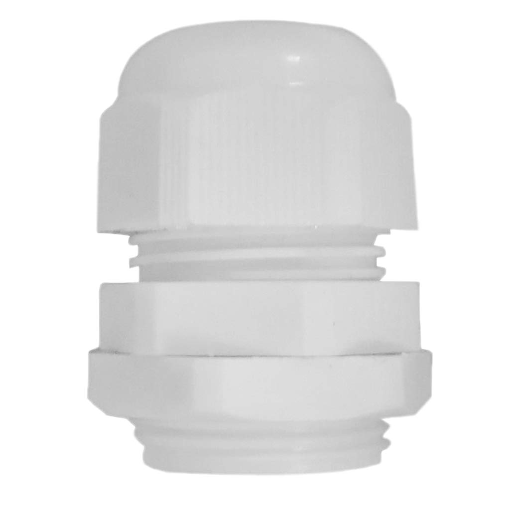 perfk Waterproof IP68 Nylon Cable Gland Joints White Cord Connector PG 7 Can be immersed in Water up to 10 Meters deep