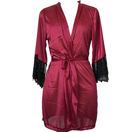 Emimarol PJ Women's Sexy Silk Kimono Dressing Babydoll Lace Lingerie Belt Bath Robe Nightwear Wine]()