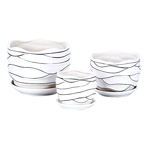 3 Pack Ceramic Flower Plant Pot with Saucers, Size 4'' 5'' and 6'' -