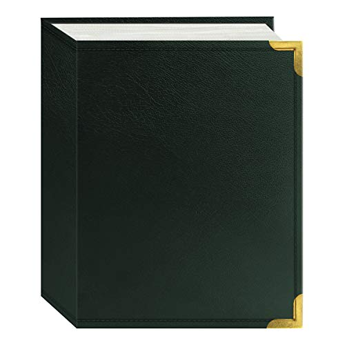 Pioneer Photo Albums 100 Pocket Green Sewn Leatherette Cover with Brass Corner Accents Photo Album, 4 by 6-Inch