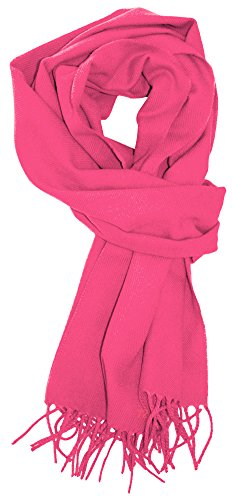 LibbySue--Solid Color Cashmere Feel Winter Scarf in Hot Pink