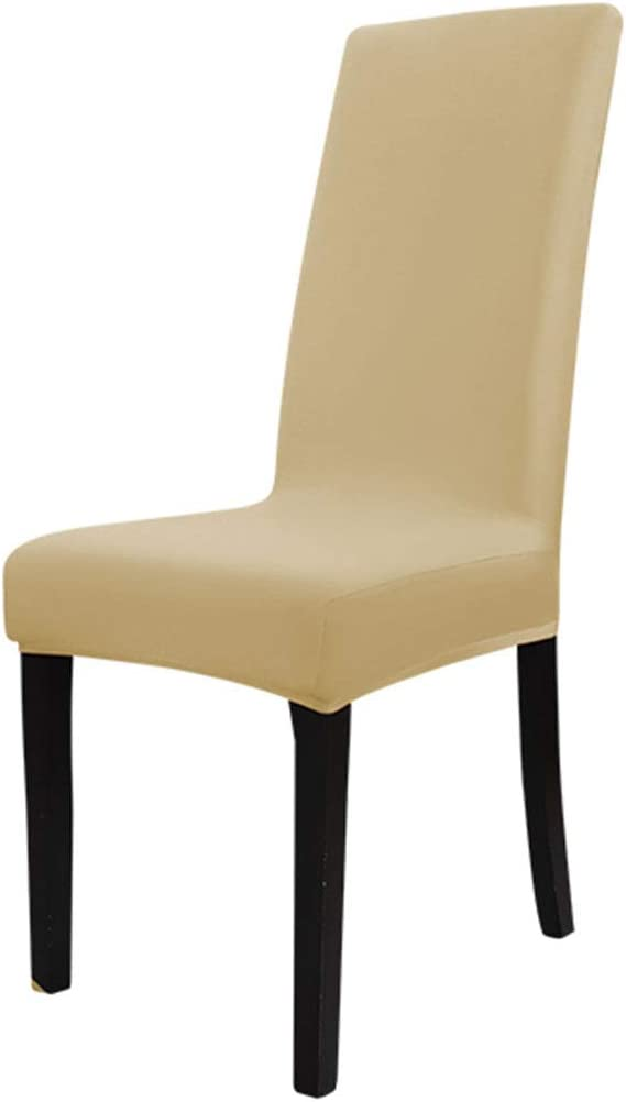 uxcell Dining Chair Cover,Stretch Bar Stool Slipcover Kitchen Chair Protector Spandex Chair Seat Cover for Home Decorative/Dining Room/Party/Wedding Champagne Color Medium