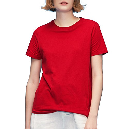 Line Sleeve Crewneck Short Tee (Toyouth T-Shirts for Womens Crewneck Loose Casual Short Sleeve Cotton Blouse Tees Tops Red Large)