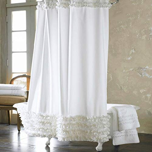 Bathroom Shower Curtain - Waterproof Moldproof Elegant Cortina Solid Polyester Fabric Lace Bath Curtain Home Decoration - Rods Long Bronze Navy Inside Diamond Table Tension Hookless ()