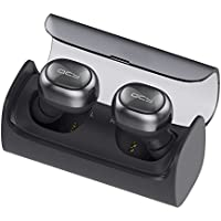 Wireless Earbud, QCY Q29 Mini Dual V4.1 Bluetooth Headphones with Charging Case 12 Hours Stereo Music Time Built Mic for IPhone 7 Plus, Samsung, HTC, Motorola and Most Android Smartphone (Dark Grey)