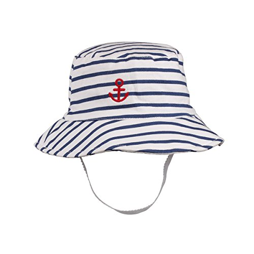 Kid Boy Girl Sun Hats Chin Strap UPF 50+ Sun Protection Toddlers Bucket Sunhat Stripd Embroidery (Embroidery Bucket Hat)