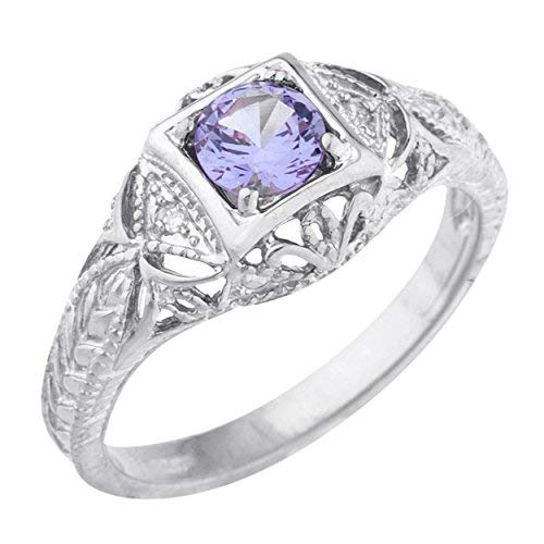 Elizabeth Jewelry Created Alexandrite & Diamond Round Ring .925 Sterling Silver Rhodium Finish