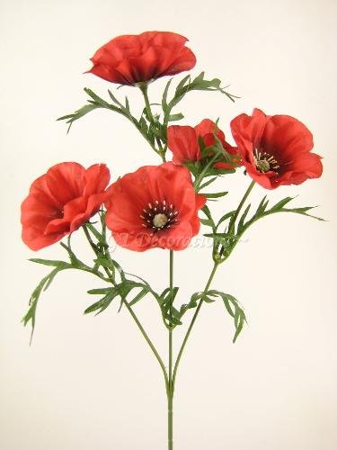 Single red artificial poppy stem with 5 poppy flower heads and single red artificial poppy stem with 5 poppy flower heads and leaves from gt decorations mightylinksfo