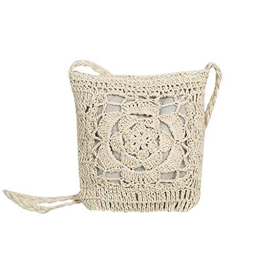 (Shoulder Bag for Women,YuhooSUN❤️ Straw Bag Chic Handbag Woven Summer Beach Tote Bags with Zipper Rattan Bags White)