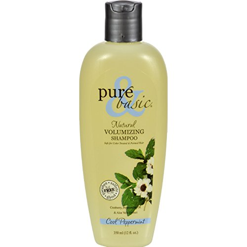 Pure and Basic Natural Volumizing Shampoo, Cool Peppermint, 12 Fluid Ounce