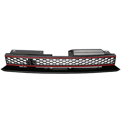 Grille Compatible With 2010-2014 VW Golf 6 MK6 | GTI Style ABS Plastic Black W & Red Trim Front Bumper Grill Hood Mesh by IKON MOTORSPORTS | 2011 2012 2013 (Vw Golf Grill)