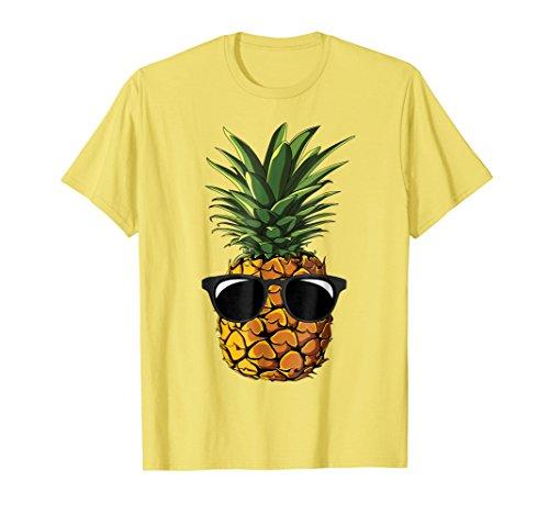 Mens Pineapple Sunglasses T shirt Aloha Beaches Hawaiian Hawaii Large Lemon ()