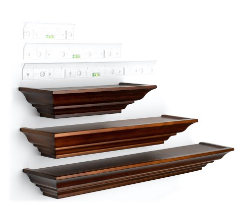burnes of boston ll2931 level line 3 piece ledge set walnut - Decorative Shelf