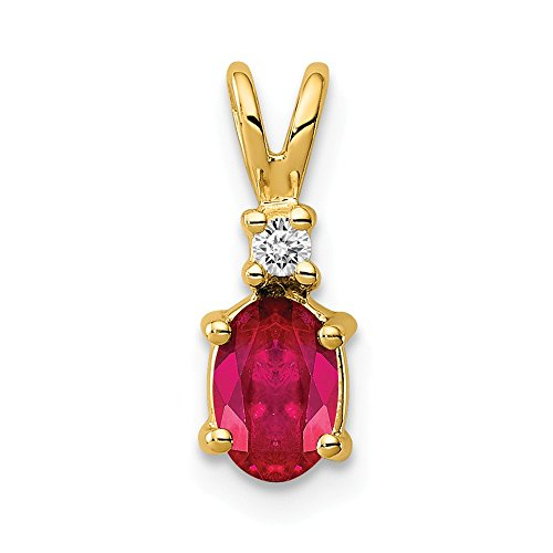 FB Jewels Solid 14K Yellow Gold 6X4mm Oval Ruby Aa Diamond Pendant