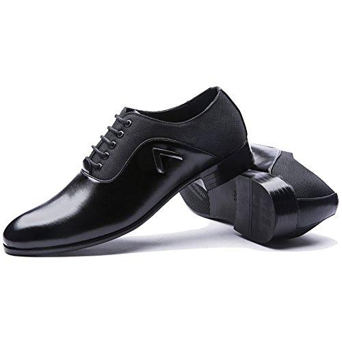 Blivener Mens Bout Pointu Lacer Chaussures Oxford Noir