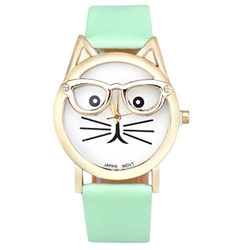 POTO 2017 New Cute Glasses Cat Women Analog Quartz Dial Wrist Watch Casual (Lake (Silver Lake Halloween 2017)
