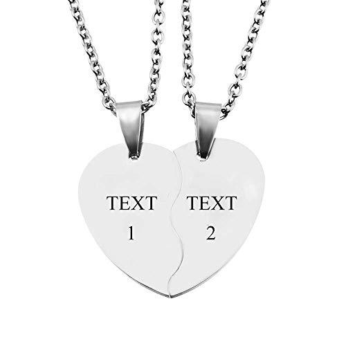 MJartoria Free Engraving Split Valentine Heart Weirdo 1 2 Best Friends Pendant Friendship Necklace Set of 2 (Customizable)