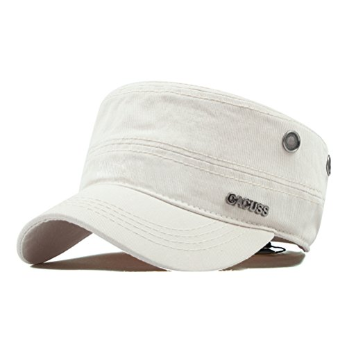 CACUSS Men's Cotton Army Cap Cadet Hat Military Flat Top Adjustable Baseball Cap(Beige)