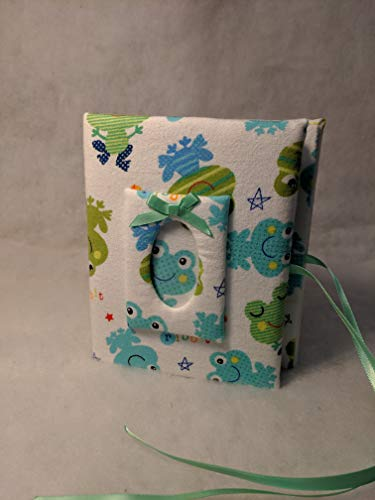 Frog Album - Custom Baby Boy Fabric Photo Album with Frogs - Holds 100 4x6 Photos - Handmade
