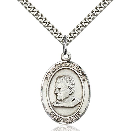 Sterling Silver St. John Bosco Pendant 1 x 3/4 inches with Heavy Curb Chain John Bosco Pendant