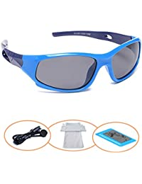 Sports Polarized Kids Sunglasses For Boys Girls Children Mirrored Lens Sunglasses With Strap
