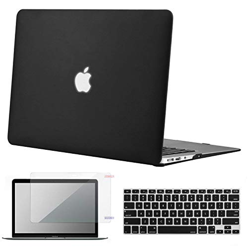 Lacdo MacBook Air 13 inch Case (A1369 & A1466, Older Version 2010-2017 Release), Laptop Hard Case Shell Cover Screen Protector Keyboard Skin fit MacBook Air 13.3 Notebook Protective, Black