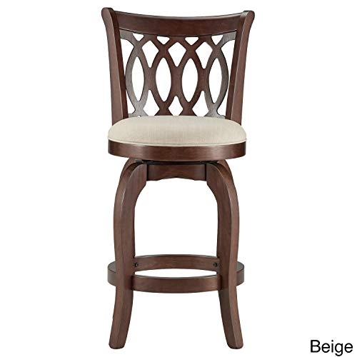 Inspire Q Verona Swivel 24-inch Counter Height Stool by Classic Beige Beige Finish
