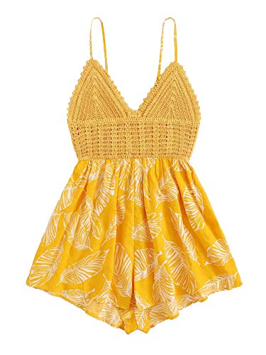 Yellow Floral Romper - SheIn Women's Boho Crochet V Neck Halter Backless Floral Lace Romper Jumpsuit Medium Floral Yellow#2