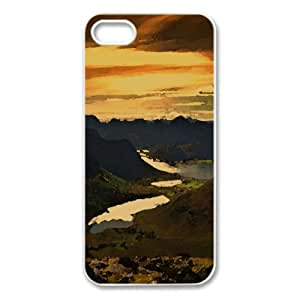 Fjords, Summer Watercolor style Cover iPhone 5 and 5S Case (Mountains Watercolor style Cover iPhone 5 and 5S Case)